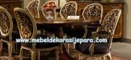 Meja makan elegan mahogany