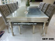 Meja makan antique silver