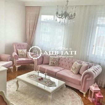 Sofa Tamu set Cester pink